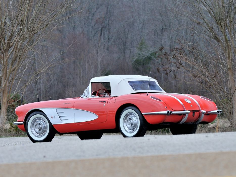 1958 Chevrolet Corvette 283 290HP Ramjet Fuel Injection (J800-867) supercar muscle retro   f wallpaper