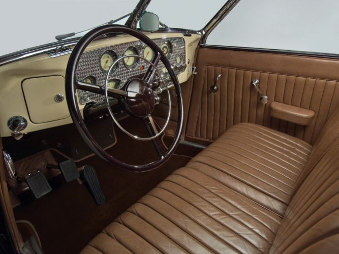 1937 Cord 812 Supercharged Convertible Phaeton Sedan (C91-FC) retro interior b wallpaper