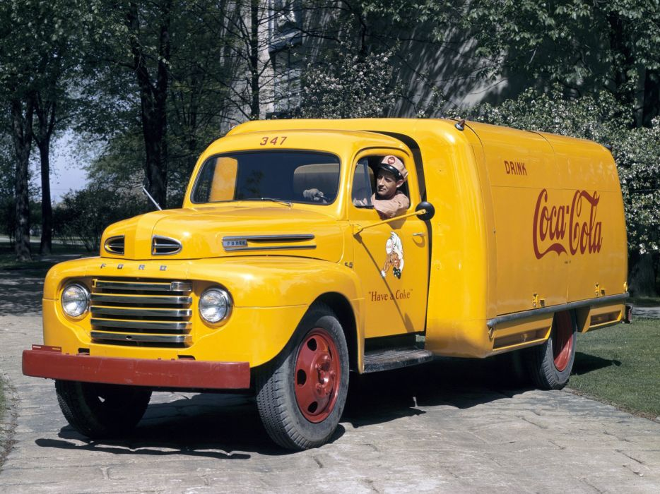 1948 Ford F-5 retro semi tractor coca cola    g wallpaper