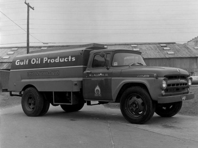 1957 Ford F-600 Tanker semi tractor retro wallpaper