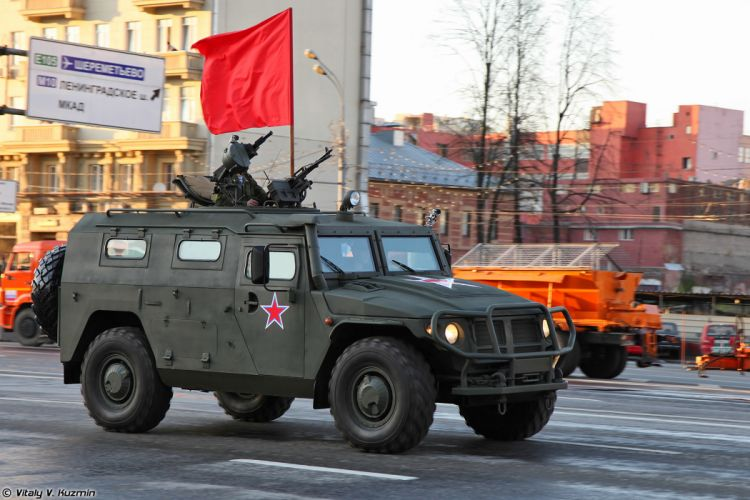 April-29th rehearsal of 2014 Victory Day Parade in Moscow Russia Red Star Russian Military Army GAZ-233014 Tigr 4x4 Red-Flag Armored 4000x2667 wallpaper