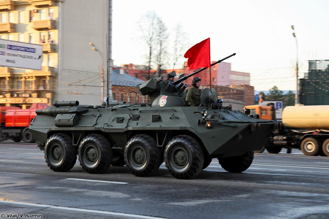 April-29th rehearsal of 2014 Victory Day Parade in Moscow Russia Red Star Russian Military Army BTR-82A APC Armored Red-Flag 4000x2667 wallpaper