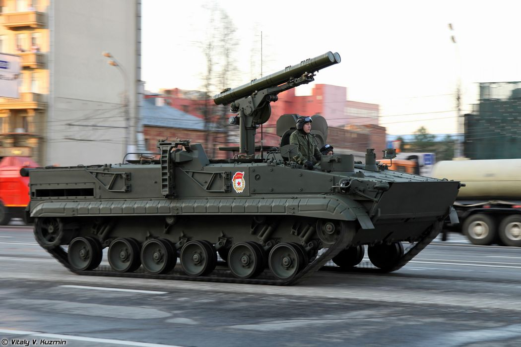 April-29th rehearsal of 2014 Victory Day Parade in Moscow Russia Red Star Russian Military Army 9P157-2 combat vehicle from 9K123 Khrizantema-S anti-tank missile system 4000x2667 wallpaper