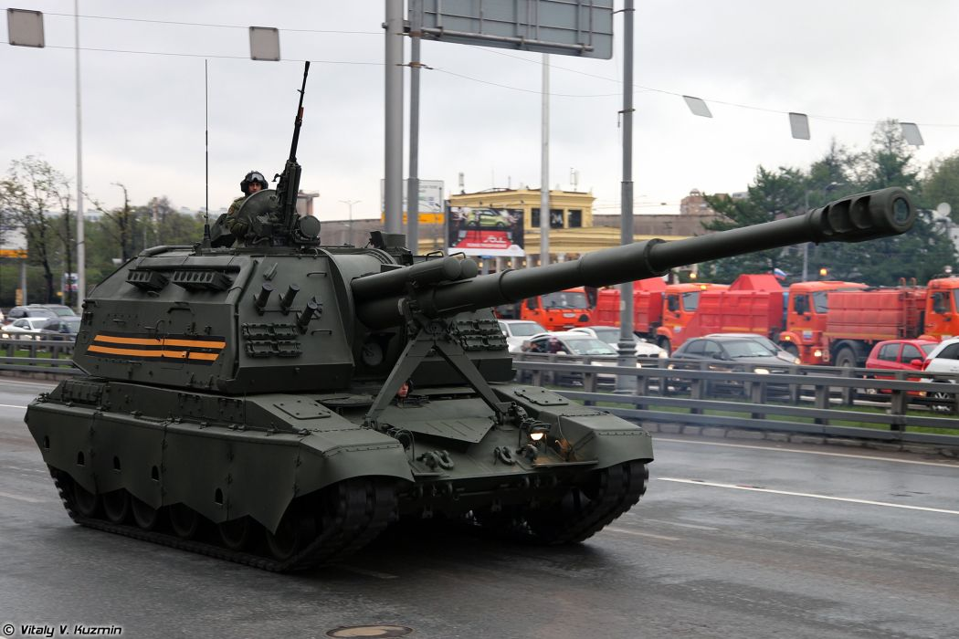 May-5th rehearsal of 2014 Victory Day Parade in Moscow Russia Red Star Russian Military Army 2S19M2 Msta-S Howtizer 4000x2667 wallpaper