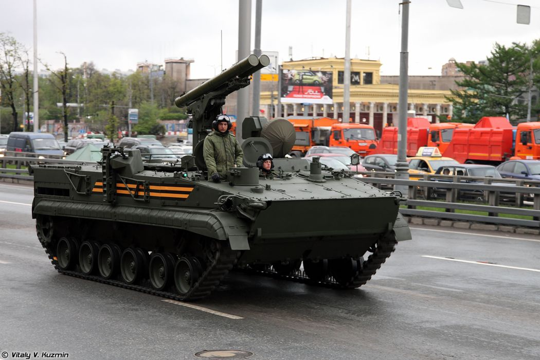 May-5th rehearsal of 2014 Victory Day Parade in Moscow Russia Red Star Russian Military Army 9P157-2 combat vehicle from 9K123 Khrizantema-S anti-tank missile system 4000x2667 wallpaper