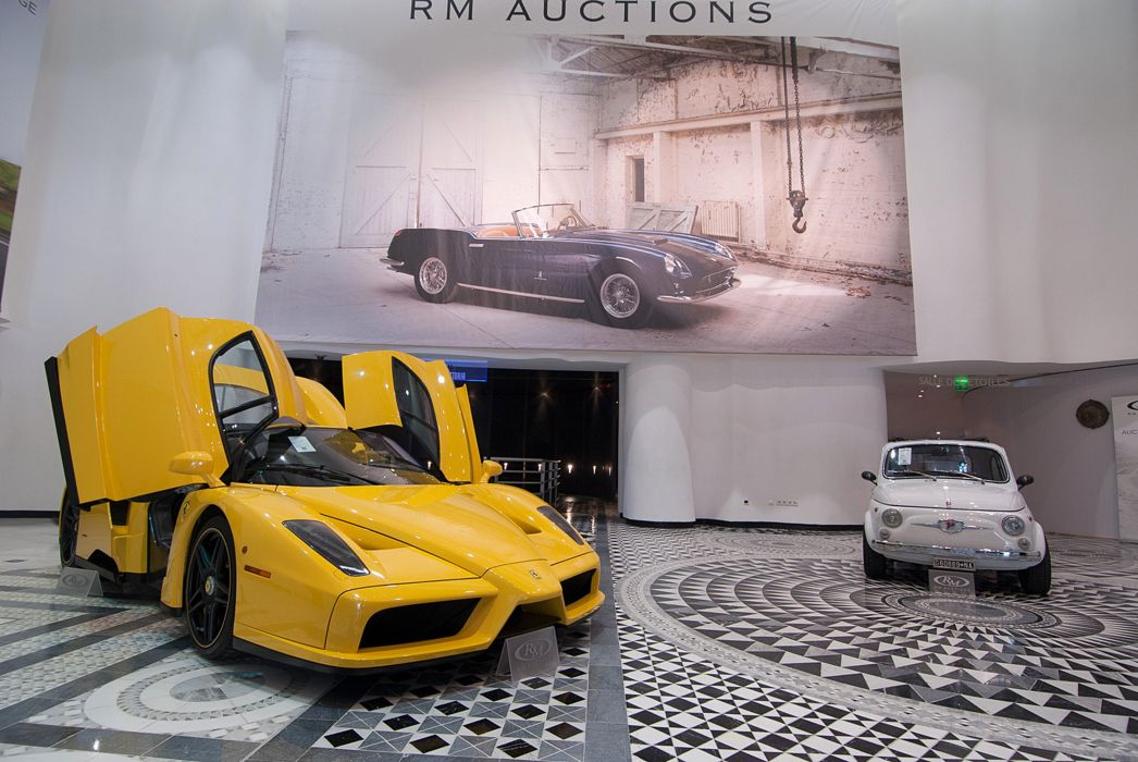 RM-Auctions Monaco 2014 Entrance Sportcars Ferrari Enzo Fiat 500 4000x2677 wallpaper