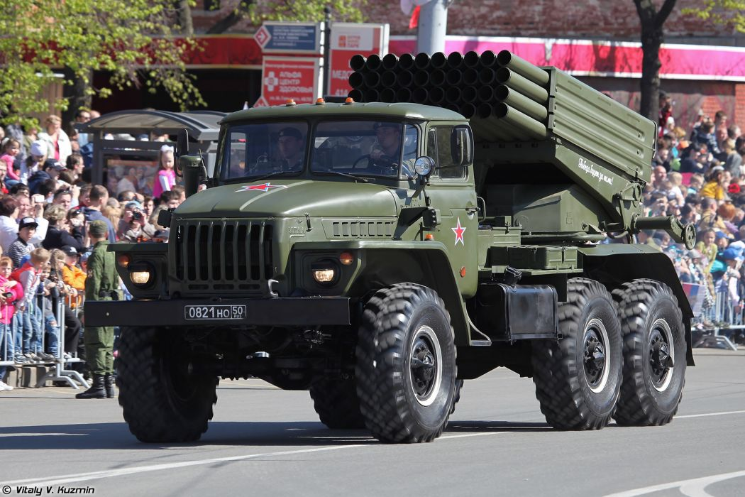 2014 Victory Day Parade-in-Nizhny-Novgorod Russia Military Russian Army Red-Star truck missile BM-21 Grad MLRS 2 4000x2667 wallpaper