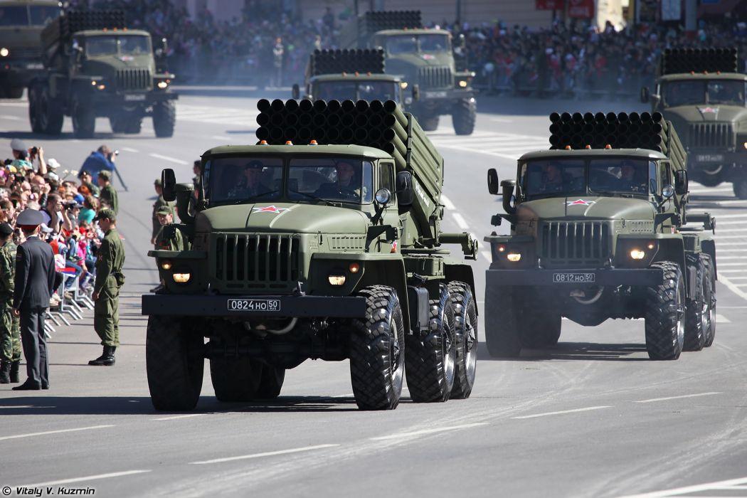 2014 Victory Day Parade-in-Nizhny-Novgorod Russia Military Russian Army Red-Star truck missile BM-21 Grad MLRS 4000x2667 wallpaper