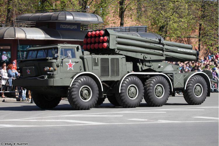 2014 Victory Day Parade-in-Nizhny-Novgorod Russia Military Russian Army Red-Star truck missile BM-27 Uragan MLRS 3 4000x2667 wallpaper