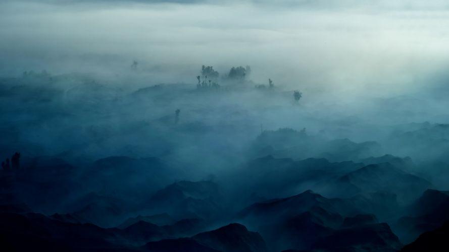 fog trees mountains wallpaper