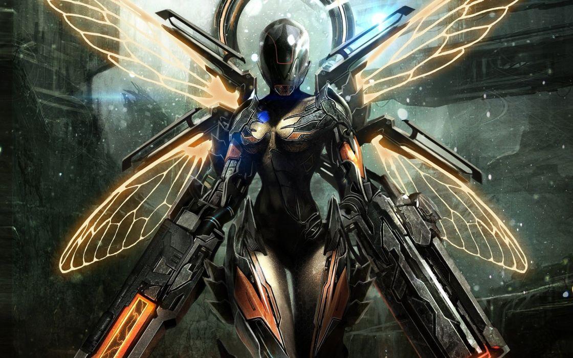 girl fairy armor gun fantasy sci-fi robot cyborg weapon wallpaper