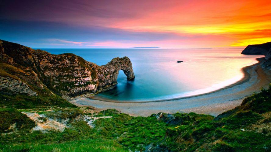 landscape nature sea sunrise coast rock arch grass England wallpaper