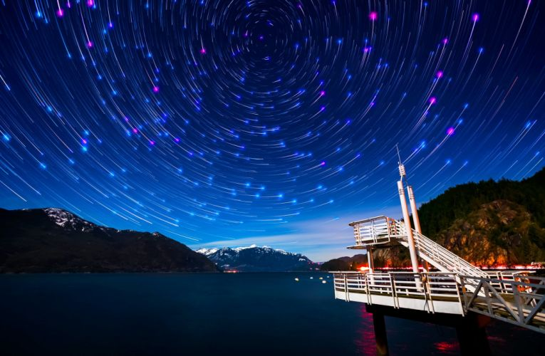 vancouver bay mountains night canada sky stars wallpaper