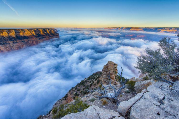 fog morning Grand Canyon Arizona wallpaper