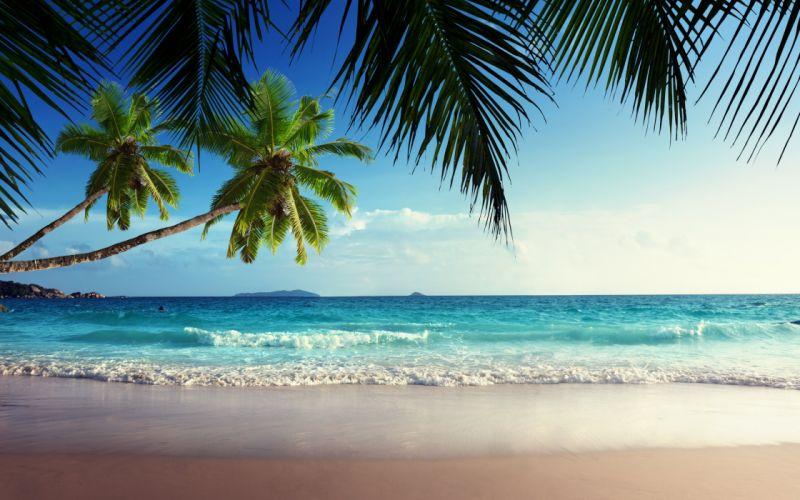 emerald sea paradise sunshine beach sky tropical blue coast wallpaper