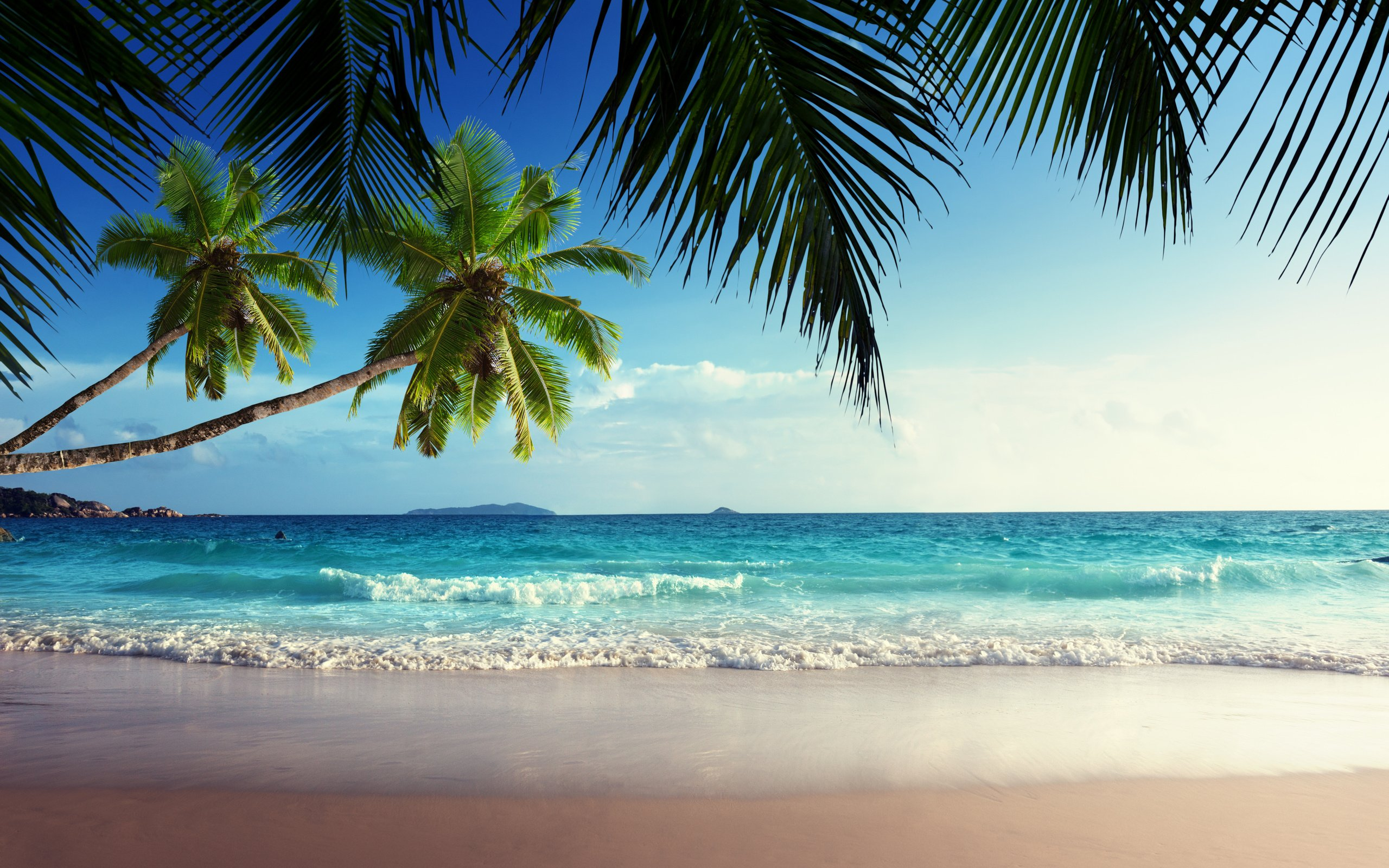 emerald sea paradise sunshine beach sky tropical blue coast