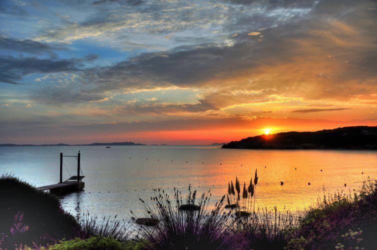 clouds_ sunset sun bay wallpaper