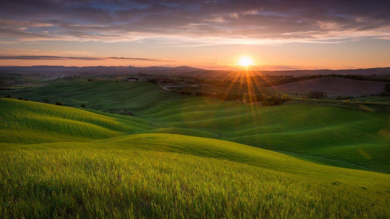 landscape nature field hills sunset sun Tuscany Italy wallpaper