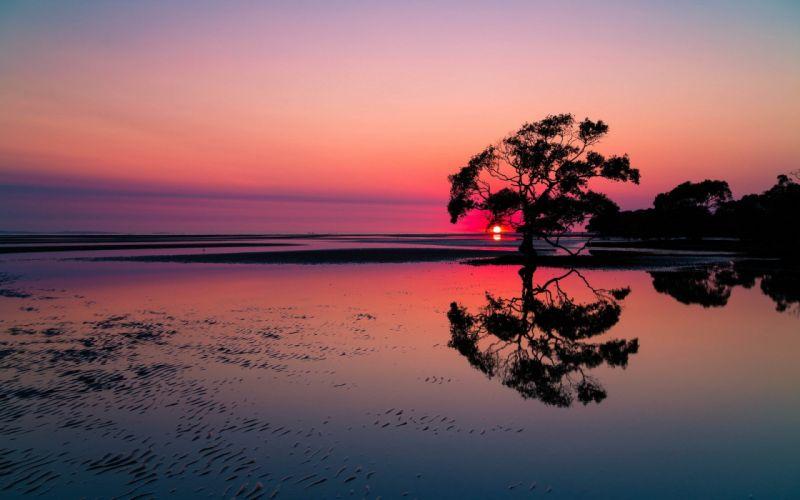 sunset lake landscape wallpaper