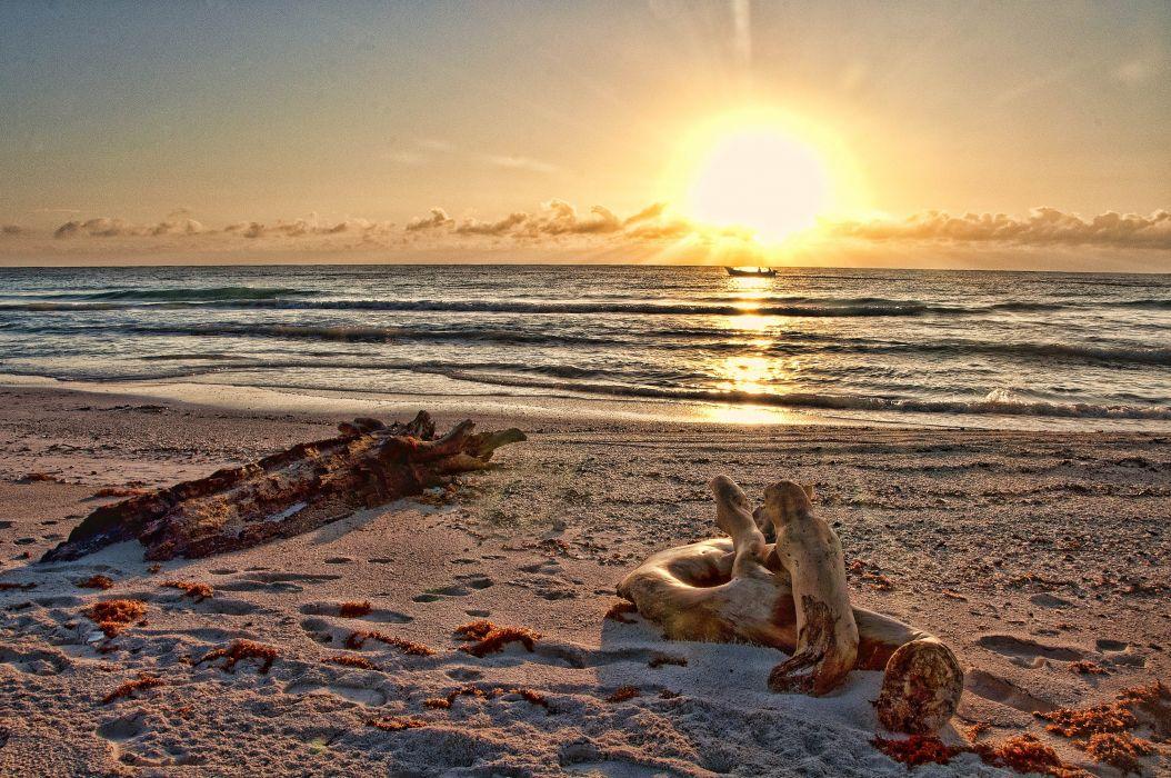 sunset sea beach landscape wallpaper