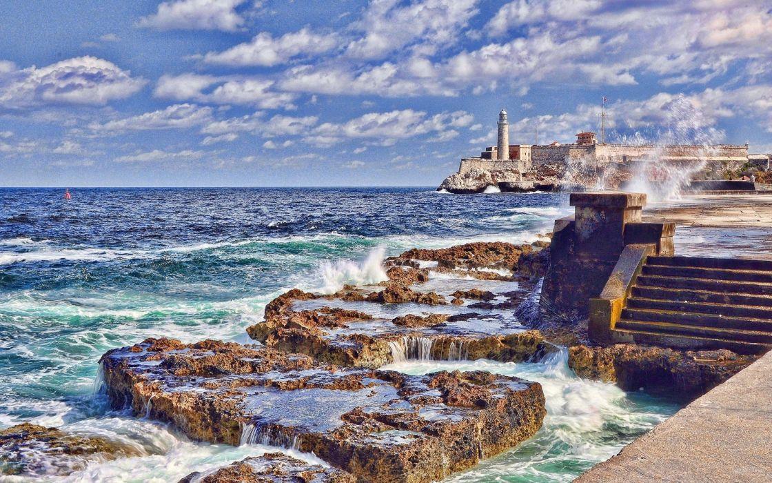 Cuba lighthouse ocean wallpaper