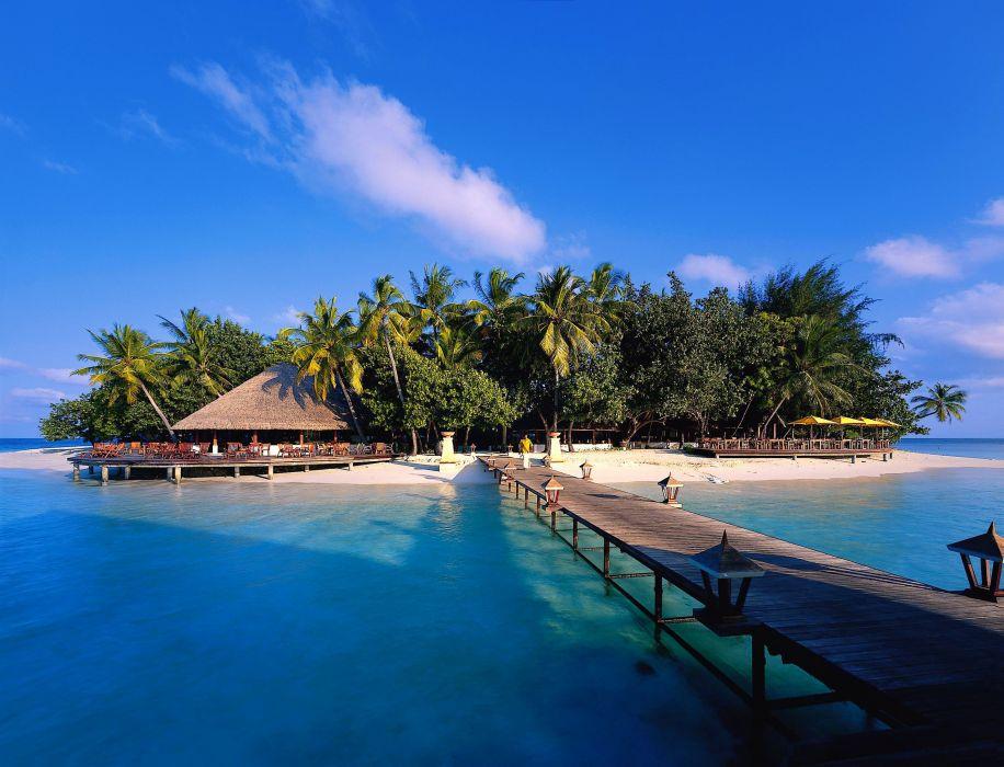 island sky bridge sea palm trees wallpaper