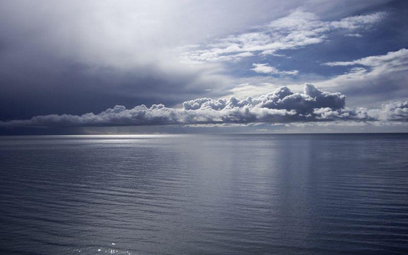 sea water clouds horizon calm wallpaper