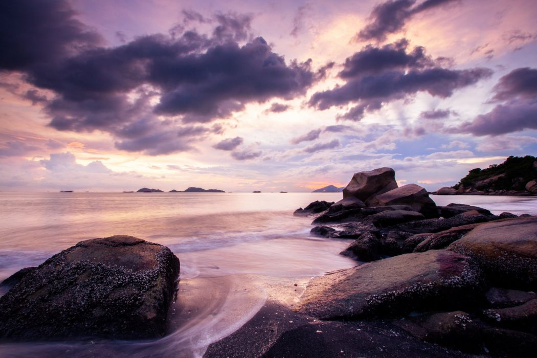 rocks sea sunset beach wallpaper