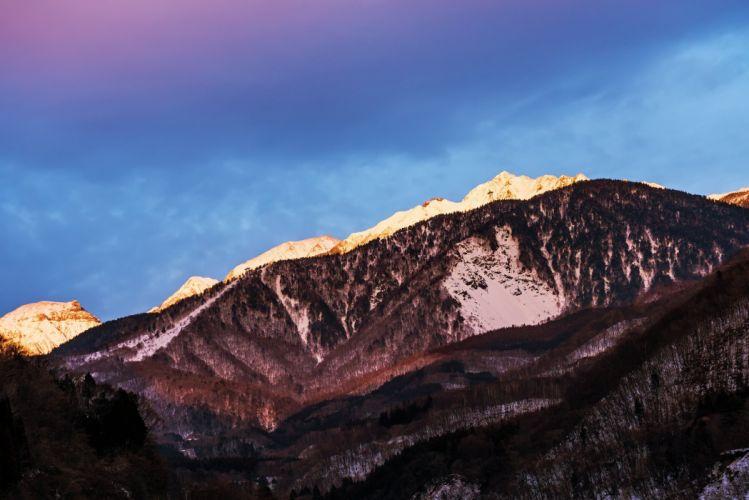 japan snow Nagano prefecture mountains wallpaper