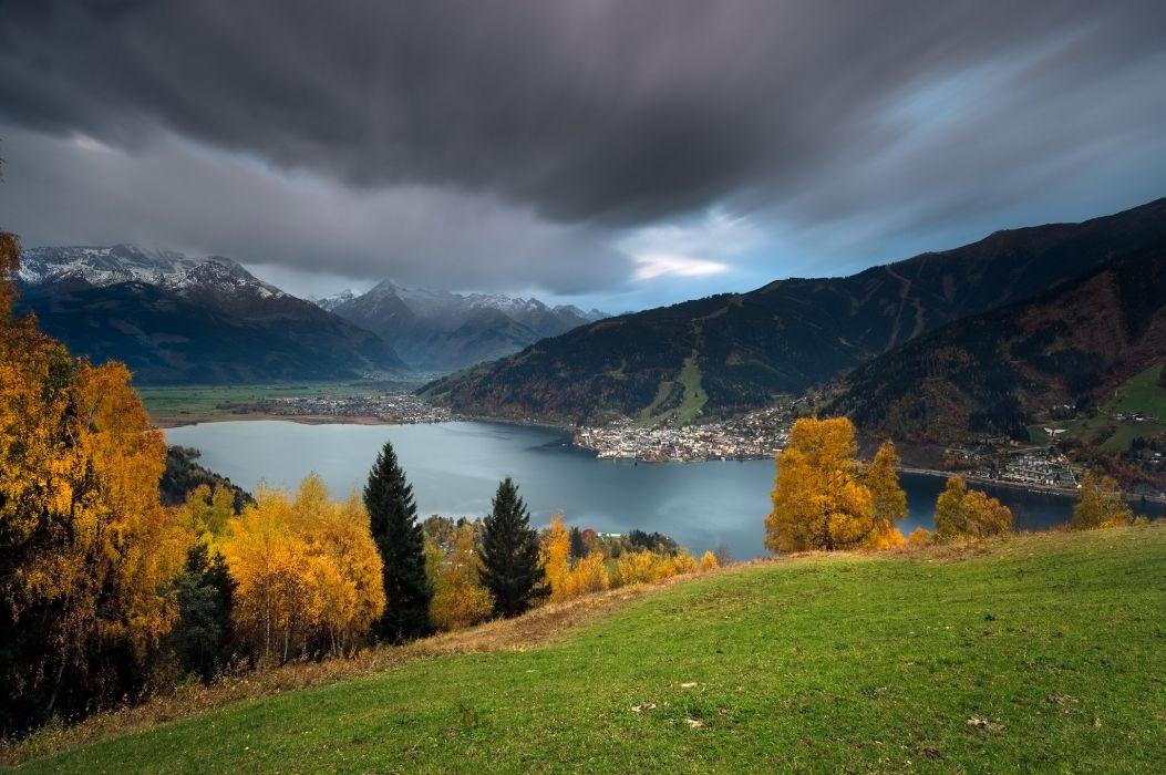 autumn lake mountains austria wallpaper