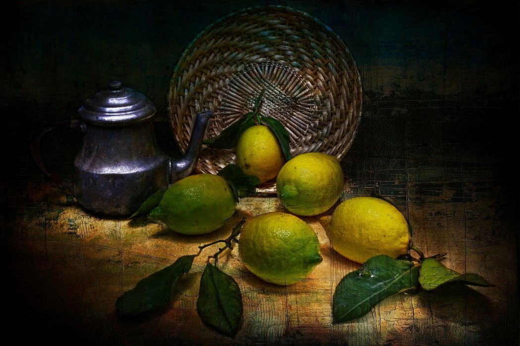 lemons tea style vintage fruit still life painting art wallpaper