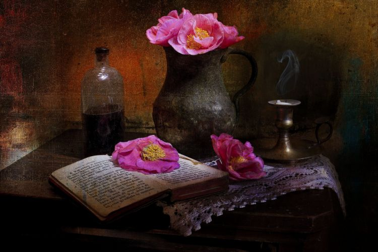 pitcher flowers poppies book style still life painting art wallpaper