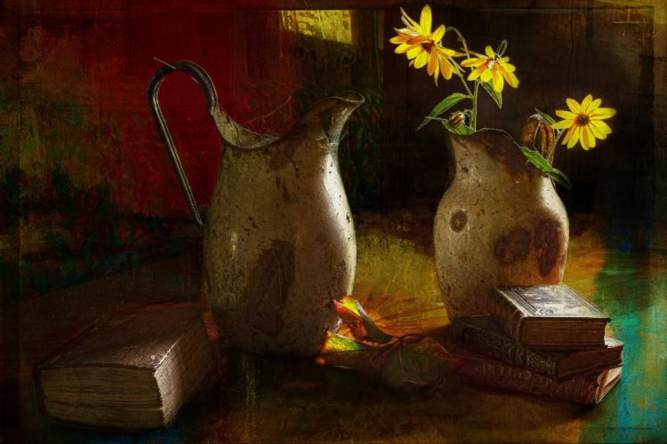 pitcher flowers poppies book style still life painting art f wallpaper