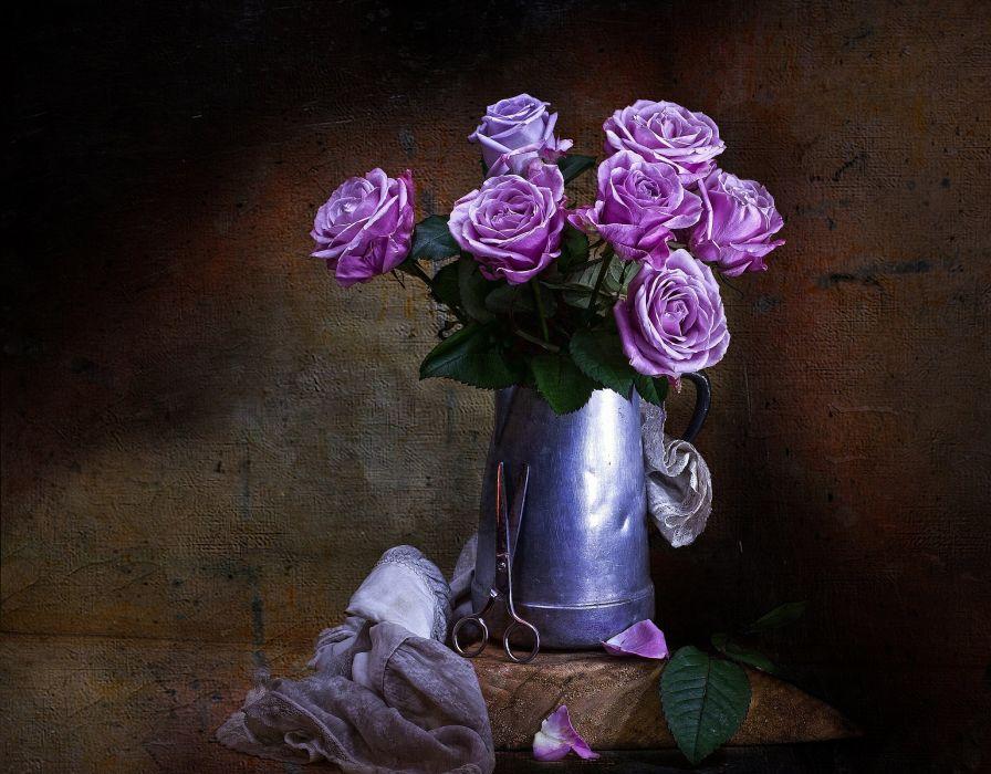 scissors style vintage flowers roses art painting still life wallpaper