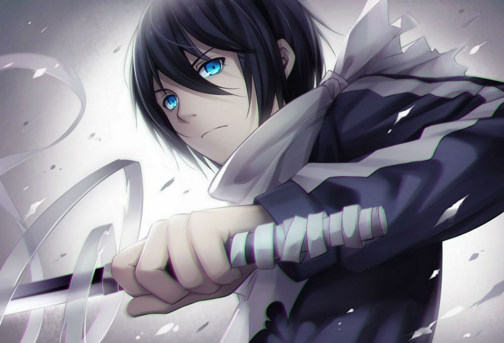 All Male Black Hair Blue Eyes Noragami Short Sword Tidsean Weapon Yato