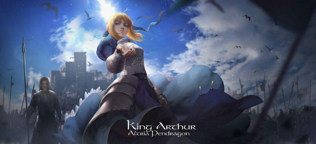 animal armor bird blonde hair blue eyes dress fate stay night lightofheaven saber spear weapon wallpaper