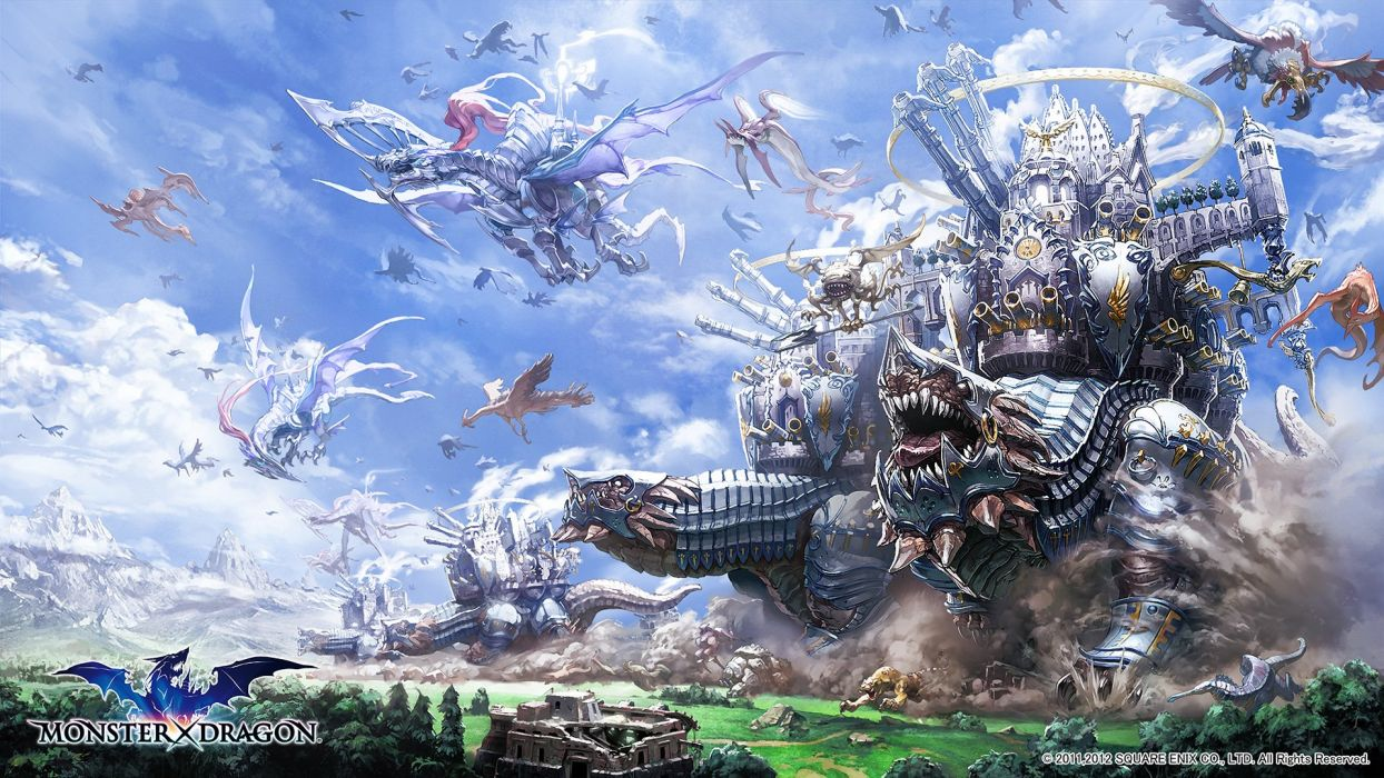 animal building clouds cristian penas dragon monsterxdragon sky tiger tree wings wallpaper