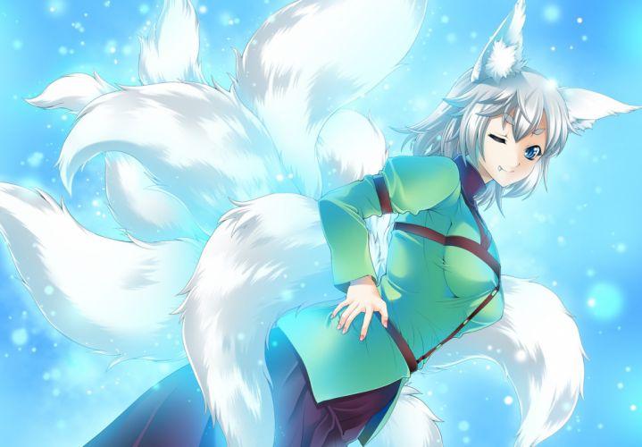 animal ears blue eyes fang foxgirl gen (genetrix) gray hair multiple tails original tail wink wallpaper