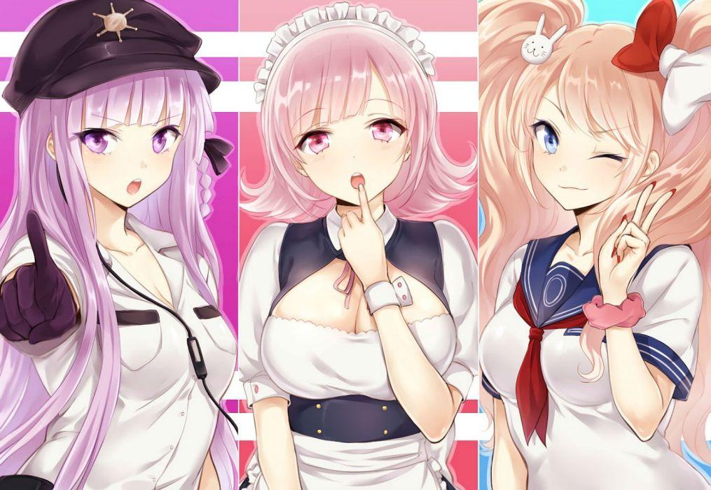 apfl0515 dangan-ronpa dangan-ronpa 2 enoshima junko hat headdress kirigiri kyouko maid nanami chiaki seifuku uniform wink wallpaper