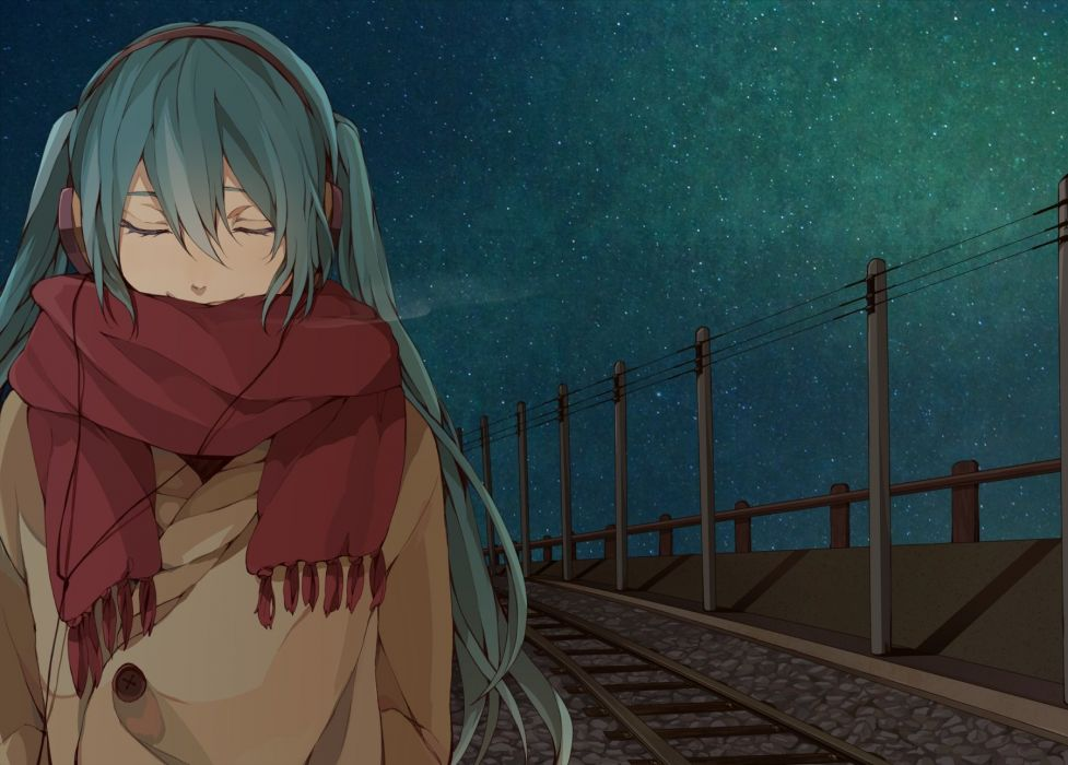 aqua hair hatsune miku headphones long hair scarf stars twintails veryberry00 vocaloid wallpaper