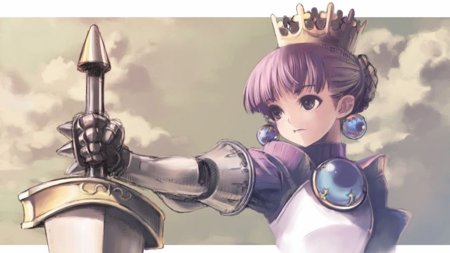 armor crown gradriel kawata hisashi princess crown purple eyes purple hair wallpaper