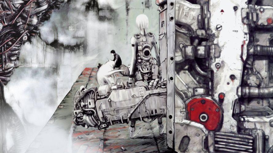 art manga blame! cyberpunk girl guy wallpaper