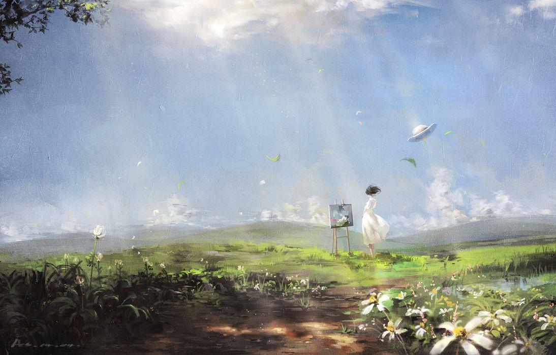 asenliy black hair clouds dress flowers hat kaze tachinu landscape scenic signed sky wallpaper
