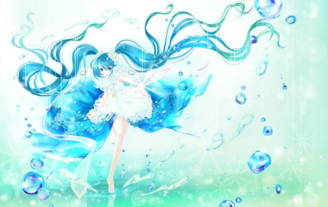 barefoot blue eyes blue hair dress hatoyama hatsune miku long hair twintails vocaloid water wallpaper