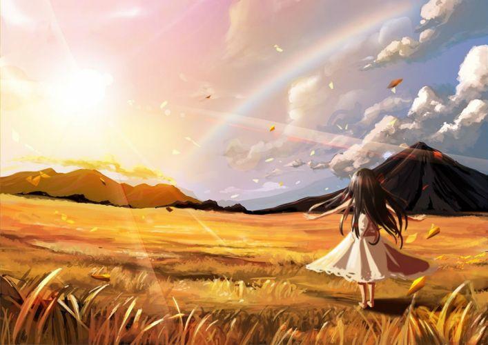 barefoot clouds dress grass landscape original rainbow riburanomind scenic sky wallpaper