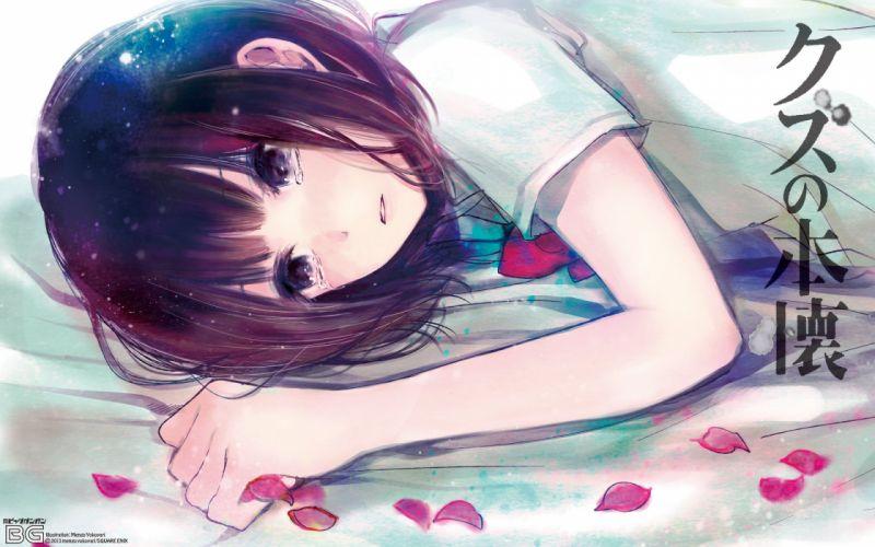 black eyes black hair kuzu no honkai petals short hair tears yasuraoka hanabi yokoyari mengo wallpaper