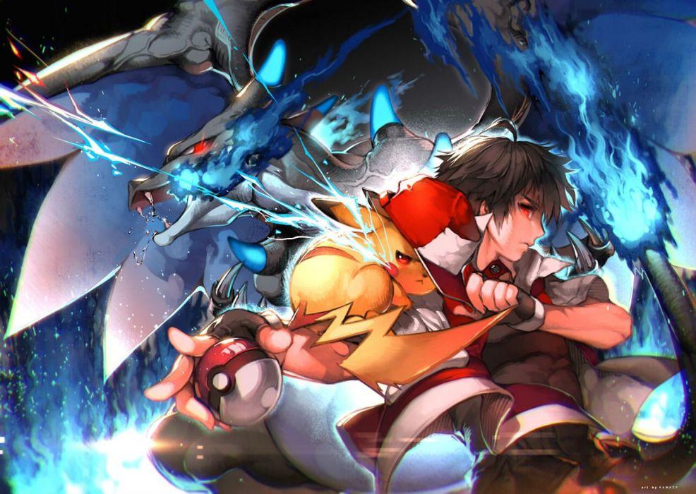 black hair charizard gloves kawacy male pikachu pokemon red eyes red (pokemon) short hair wallpaper