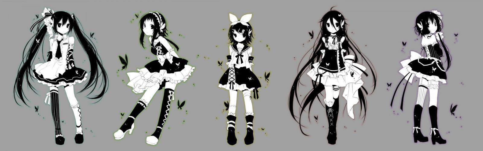 black hair dress gray gumi hatsune miku ia kagamine rin kuroi (liar-player) vocaloid yuzuki yukari wallpaper