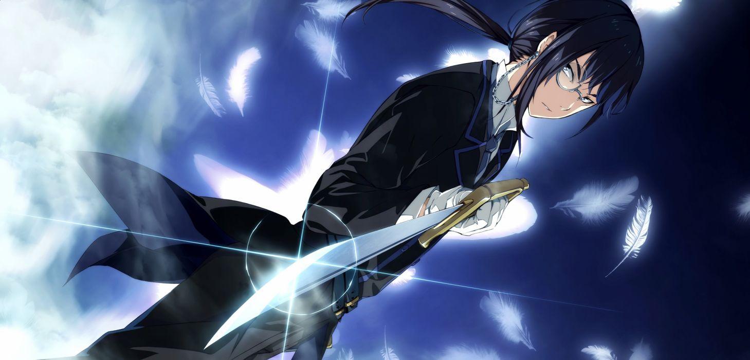 black hair feathers game cg glasses g yuusuke hiiragi yoshiya light male ponytail sousyu sensinkan-gakuen hachimyoujin sword weapon wallpaper