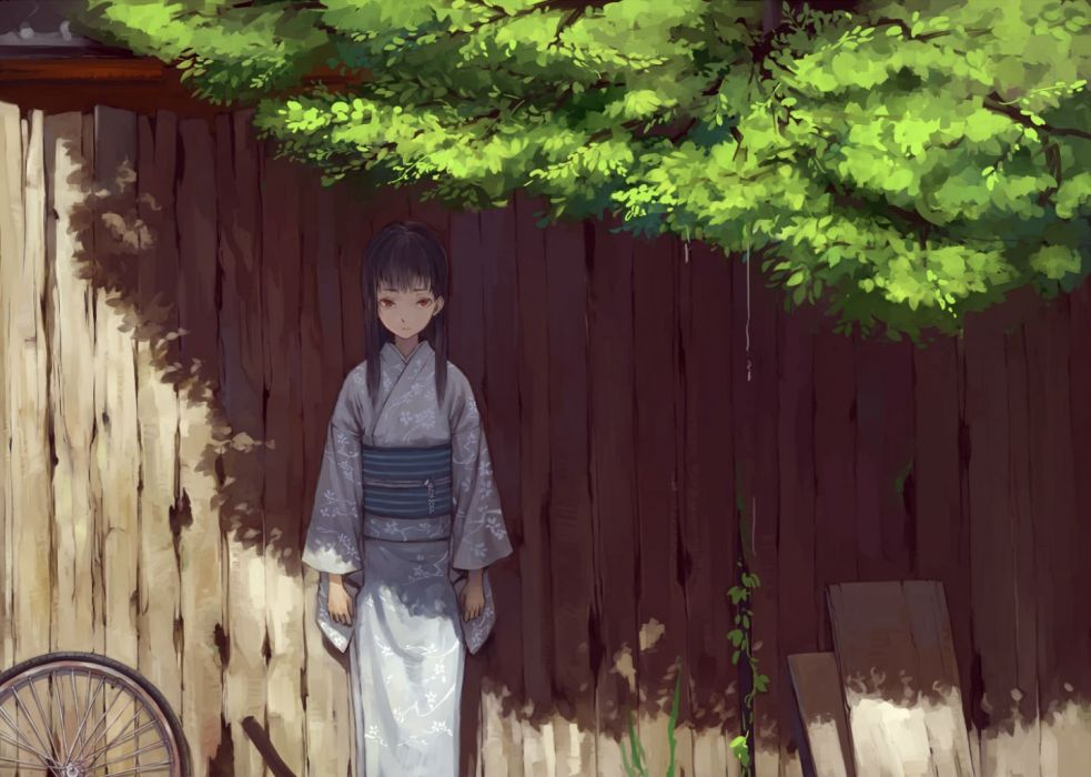 black hair japanese clothes kimono long hair original red eyes suzu no tree wallpaper